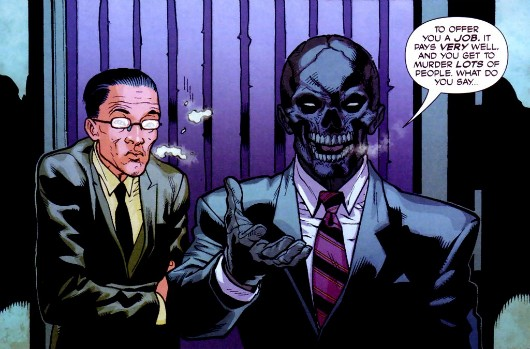 Comic book Black Mask.  The Asian guy might be a more intriguing villain